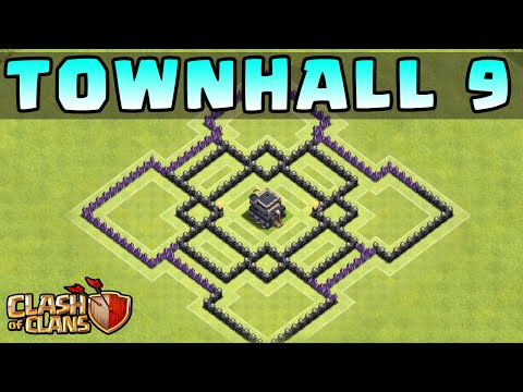 Clash Of Clans - TOWN HALL 9 DEFENSE STRATEGY - Base Layout Build TH9