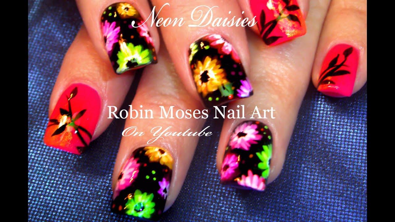 neon daisy nails hot rainbow