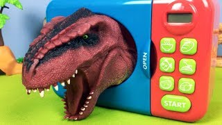 Learn Animals Names For Kid Surprise Animal - Dinosaurs - Fun Video Microwave Oven