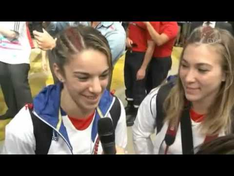 Retour de l'équipe de France Olympique de gymnastique à Paris