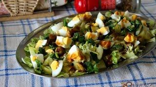 Картофельный салат с яйцом и фаршированными оливками