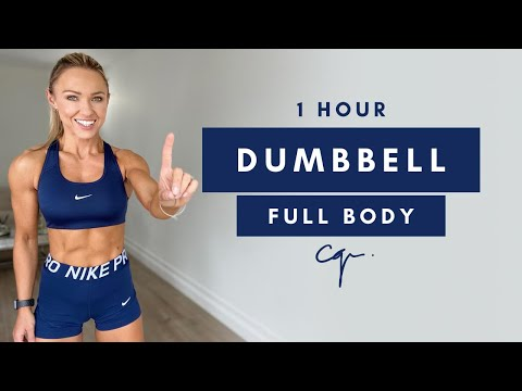 1 Hour DUMBBELL FULL BODY WORKOUT at Home | No Jumping