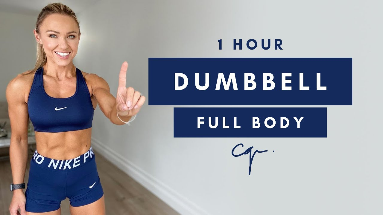 1 Hour DUMBBELL FULL BODY WORKOUT at Home   No Jumping