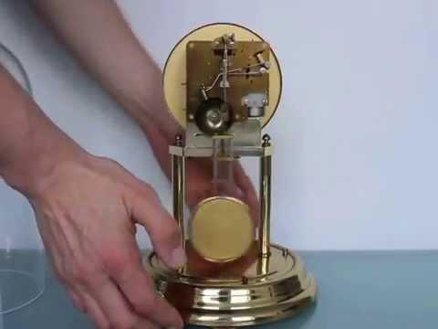 HERMLE Anniversary Mantel Clock Vintage Skeleton Translucent DOUBLE Bell Chime Shelf Germany