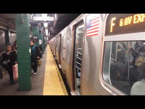 IND 6th Ave Line: Queens Bound R160 (F) Train Entering & Leaving @ W. 4th Street-Washington Square
