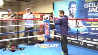 Carlos Cuadras vs David Carmona media workout - shadow boxing