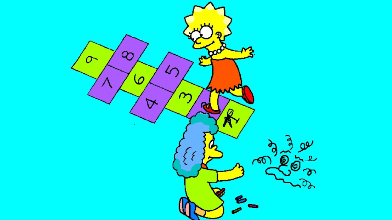 lisa simpson playing hopscotch coloring page youtube