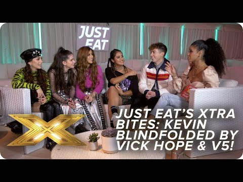 Kevin McHale gets blindfolded by Vick Hope and V5  | Just Eat's Xtra Bites