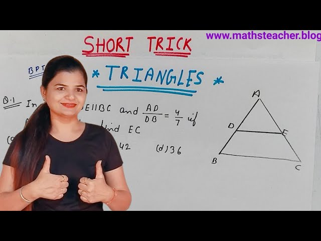 {MathsTrick} Class 10th Triangles Short trick method 1 |  Maths tricks for fast calculation