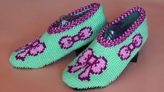 Тапочки крючком. Подошва крючком. Толстое вязание. (Crochet slippers)
