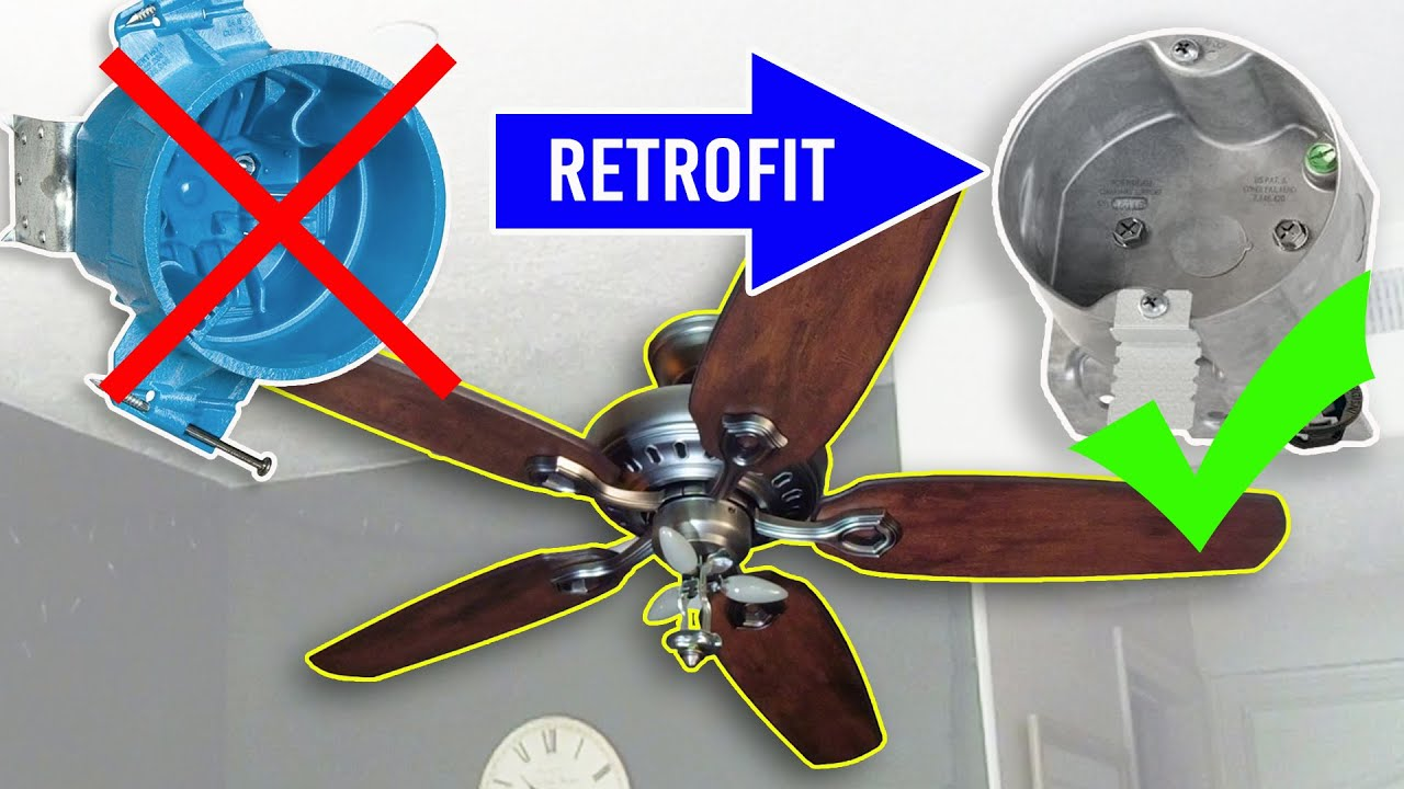 Install a ceiling fan retrofit junction box support a heavy light install a ceiling fan retrofit junction box support a heavy light fixture aloadofball Gallery