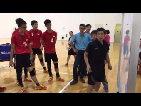 Singapore national volleyball teams training ahead of SEA Games 2015