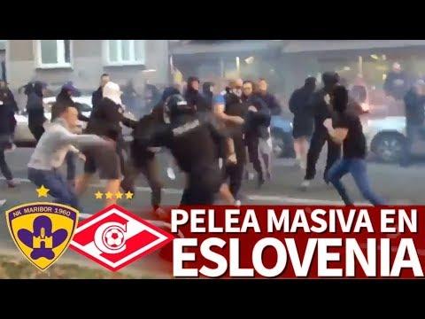 Maribor-Spartak | Pelea masiva entre hooligans y la Policía