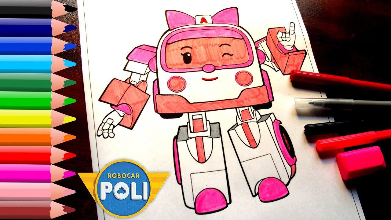 Robocar poli coloring pages for kids ambulance amber coloring book youtube - Robocar poli ambre ...