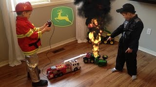 John Deere FIRE! Tractor Toys crash.  Fireman saves the day!!