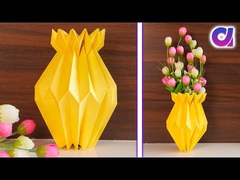 Easy Paper Flower Vase | How to Make A Flower Vase At Home | Simple Paper Craft | Artkala