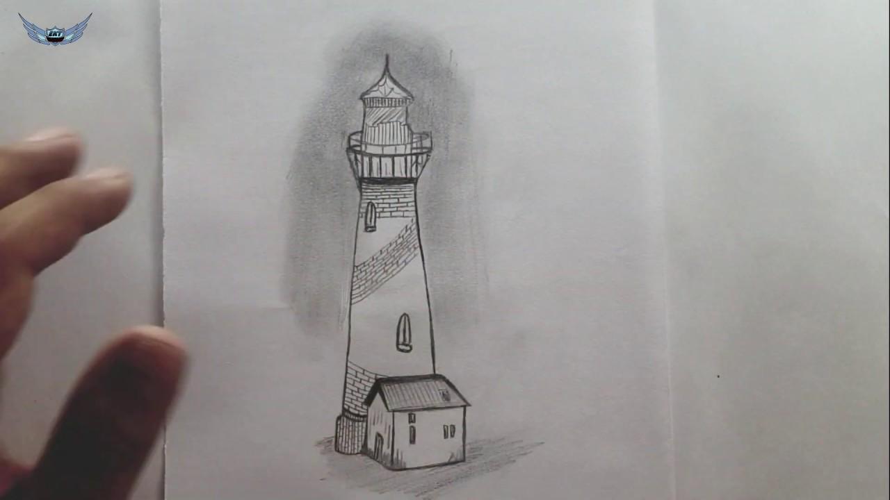 Deniz Feneri Resmi Cizimi Karakalem Cizimi Youtube