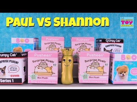 Boo Grumpy Cat Pusheen Paul vs Shannon Blind Box Challenge | PSToyReviews