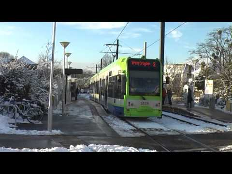 Croydon Tramlink London, Trams In The Snow 21-1-2013