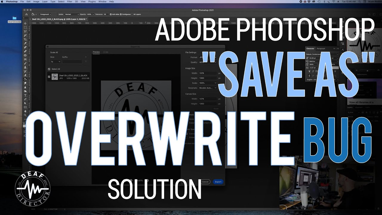 "ADOBE PHOTOSHOP: ""SAVE AS"" OVERWRITE (NOT REPLACING FILES) BUG FIX"