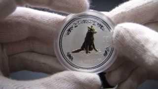 Золоченая монета серии Австралийский Лунар I Год собаки