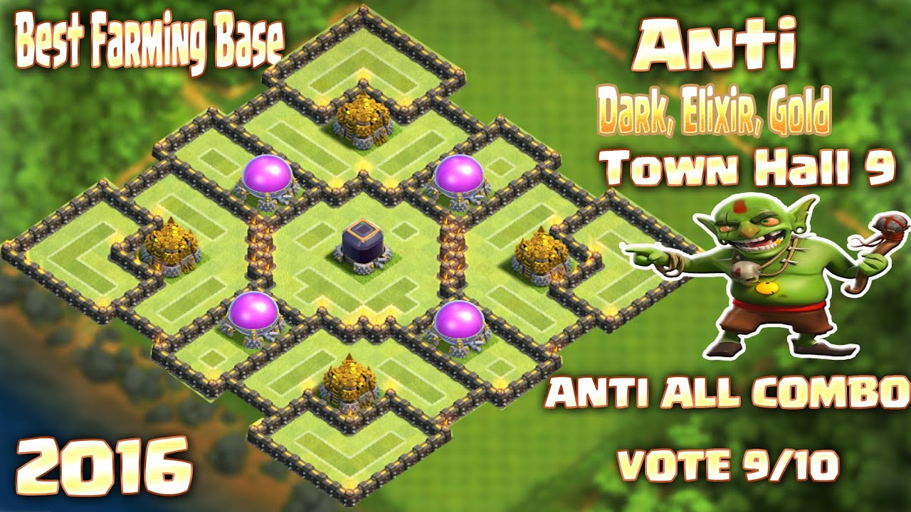 Base dark elixir gold base town hall 9 clash of clans youtube