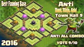 Coc Th9 TOP 2 Farmig Base (Dark Elixir Gold Base) Town Hall 9 Clash of clans