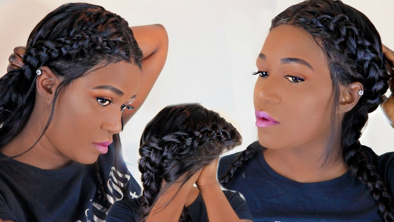 How To Two Braids Dutch Braids On A Wig Nadula Hair