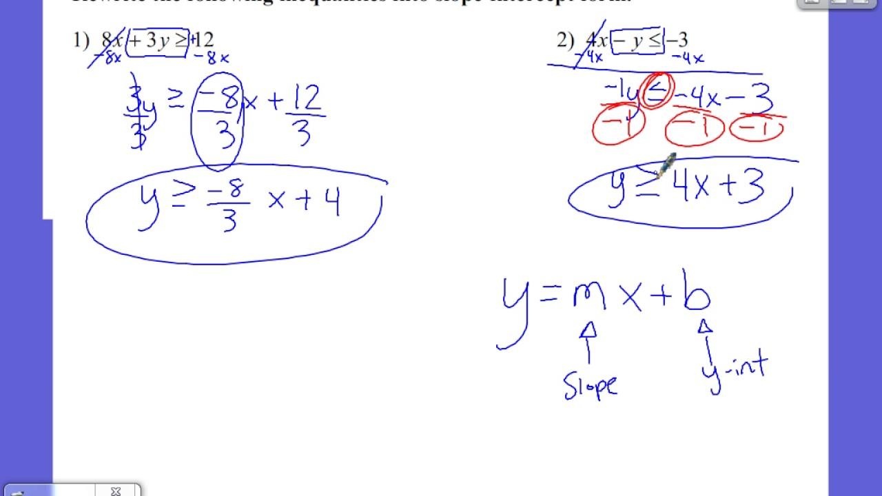 Rewriting inequalities into slope intercept form youtube rewriting inequalities into slope intercept form falaconquin
