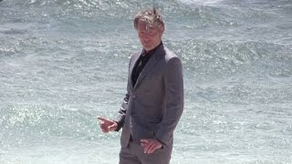 Jury member Mads Mikkelsen on a photo shoot by the sea in Cannes