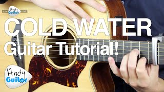 Cold Water Guitar Tutorial - Major Lazer feat. Justin Bieber - EASY CHORDS!