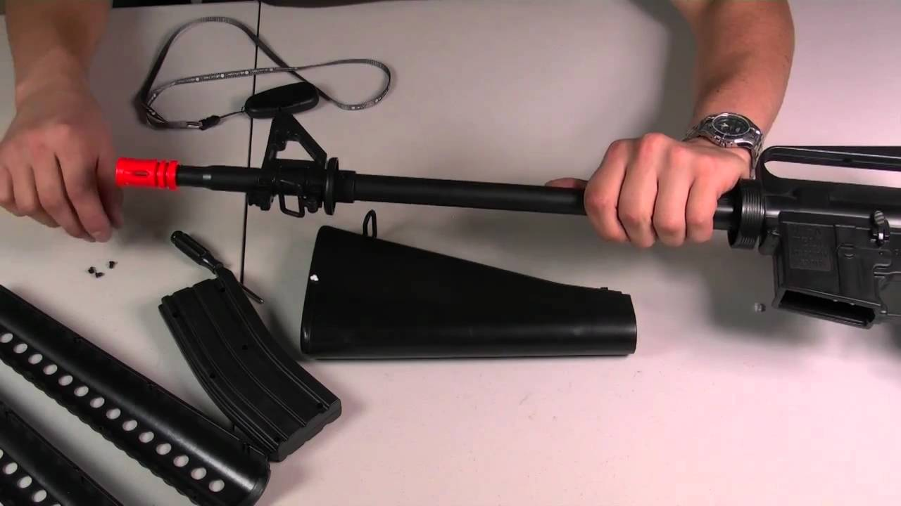 HitGuns com - Airsoft Gun Guide - Well M16A1 / A2 Spring Airsoft Rifle  Assembly Tutorial