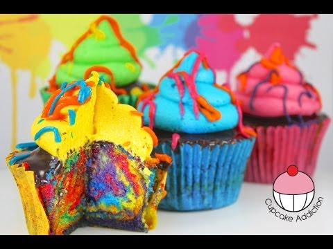 Rainbow Paint Splatter Cupcakes! More Rainbow Cakes with Cupcake Addiction....