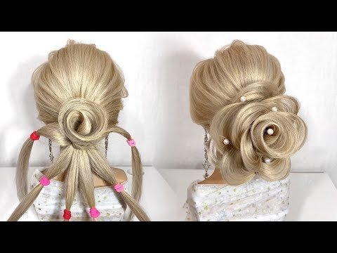 Прическа роза из волос видео урок