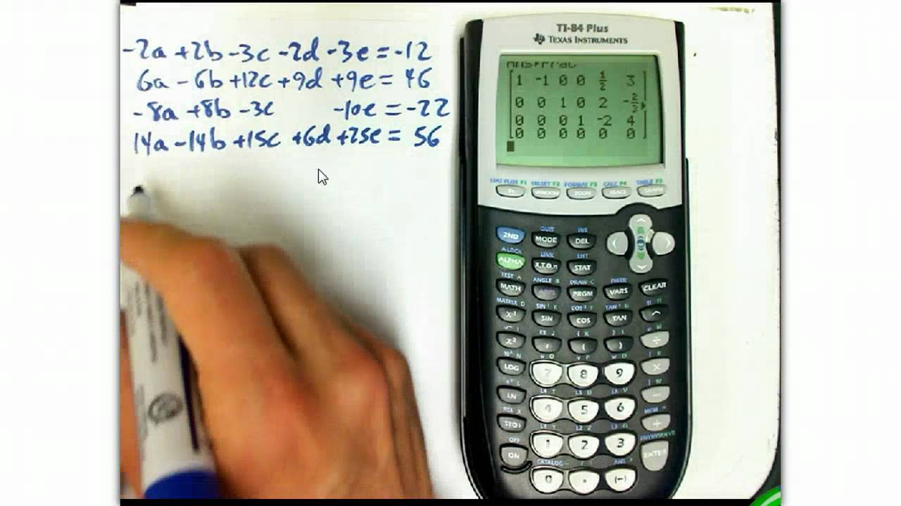 Solving systems using RREF on the TI-84 calculator