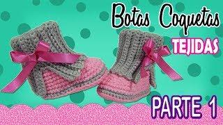 Botas coquetas para niña Tejidas a Crochet  | parte 1/2