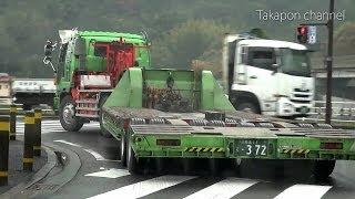 う~ん職人!! 道幅ギリギリでもスイスイ行く上手な重機トレーラー の後ろを追跡してみた!Japanese trailer. thumbnail