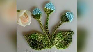 Folha e botãozinho em crochê para aplicações - Miriam Medina