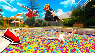 I FILLED MY ENṪIRE POOL WITH BALL PIT BALLS...