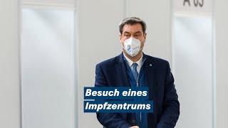 """Ministerpräsident dr. markus söder beim besuch eines impfzentrums heute um 12.30 uhr in münchen: """"die impflogistik steht. jetzt braucht es geduld. alles, was..."""