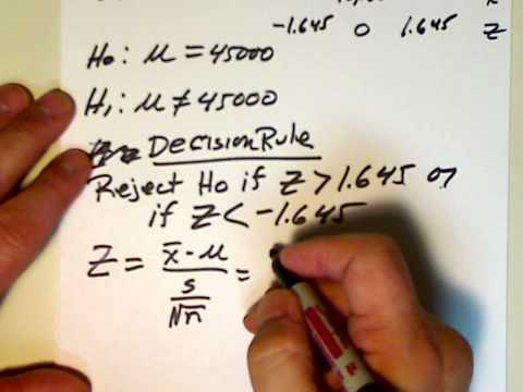 A Two Tail hypothesis Testing Example.wmv