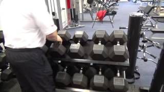 York Hex Rubber Dumbells and rack