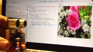 Webduino - 用 JS 控制超音波傳感器,改變圖片大小