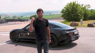 Mark Webber drives the Mission E at Porsche's test track in Weissach.