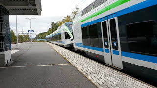 Pendolino S 53 ja K-juna K 9446 Rekolassa   Pendolino S 46 and K-line train K 9446 at Rekola