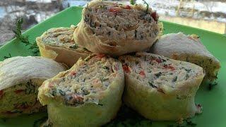 Рулет из лаваша с курицей или куриный рулет, Roll from lavash with chicken or chicken roll