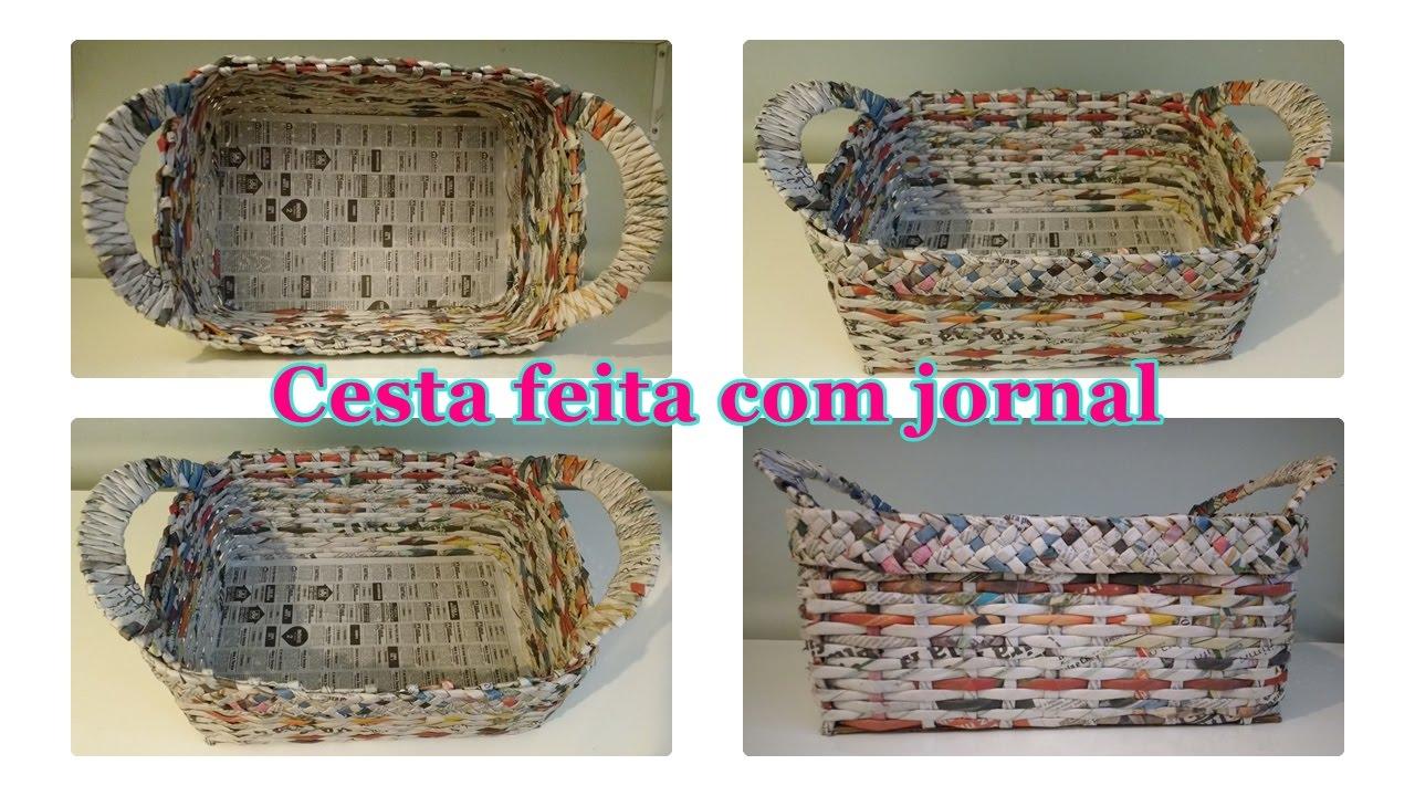 Como fazer cesta de jornal quadrada!  YouTube