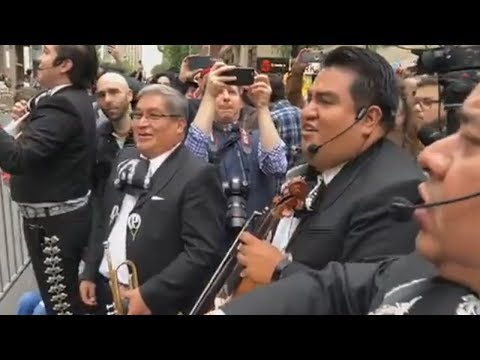 Mariachi band plays at protest of lawyer in racist rant video