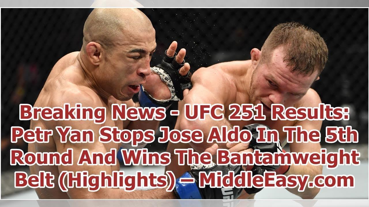 Petr Yan stops Jose Aldo to win vacant bantamweight title at UFC 251