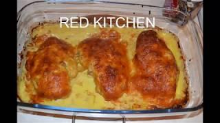 Куриная грудка в  куркуме с чесноком под белым соусом в духовке.